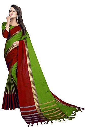 Perfectblue Cotton Silk Saree With Blouse Piece (Mehndi Red_Free Size)