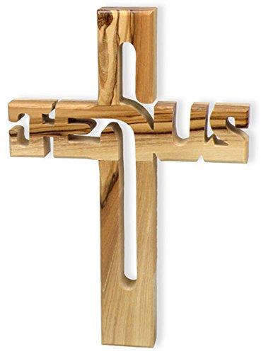 "°°2622 Holzkreuz ""Jesus"" Olivenholz aus Israel, 10,5x 15cm"