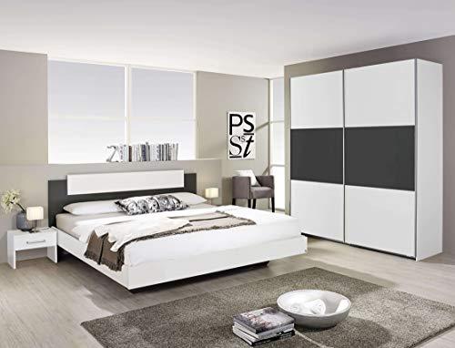 Avanti trendstore - rubi - camera da letto completa con fusto del letto matrimoniale, 2 comodini ed un'armadio spazioso ad ante scorrevoli