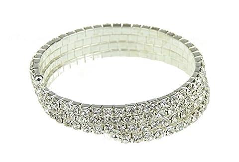 Femmes dans une boîte cadeau Strass Cristal Extensible Bracelet de mariage 1.5cm de large