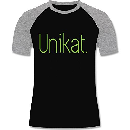 Statement Shirts - Unikat - zweifarbiges Baseballshirt für Männer Schwarz/Grau Meliert