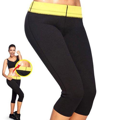 Damen Mädchen Hot Capri Shapers Pants Schwitzhose Fitnesshose Training Capri Schlank Hose Neopren – VENAS (Schwarz + pants, L)