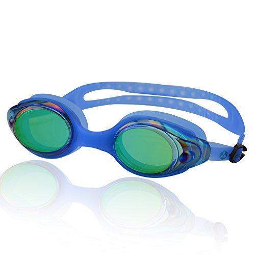 »Snake« Schwimmbrille / 100% UV-Schutz + Antibeschlag / Starkes Silikonband + stabile Box / AF-600m / blau
