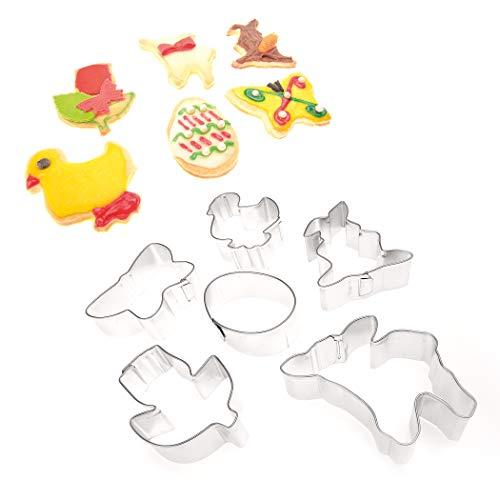 EMPORTE-PIECES PATISSERIE PÂQUES de 4smile - Made in Germany ǀ lot de 6 EMPORTE-PIECES pour les biscuits de Pâques - diverses formes ǀ ACCESSOIRE PATISSERIE pour pâte sucrée de 6 cm à 8 cm ǀ BISCUIT EMPORTE-PIECES 100 % inox ǀ moules biscuits en couleur: argent
