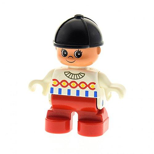Weiß, Rot, Hut Schwarz, (1 x Lego Duplo Figur Kind rot weiß mit Reiter Kappe Hut schwarz 6453 F25)