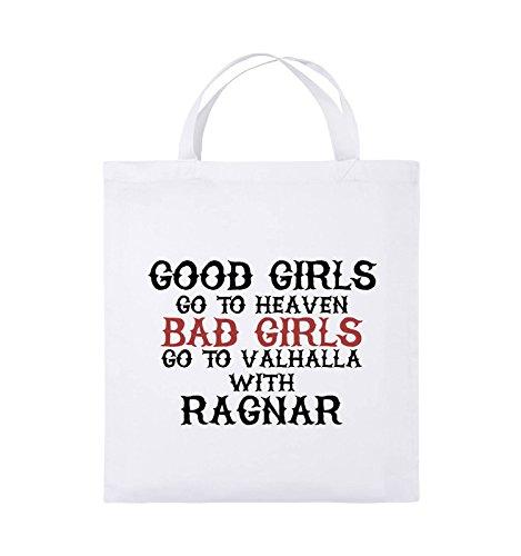 Comedy Bags - Good girls go to heaven bad girls go to valhalla - Jutebeutel - kurze Henkel - 38x42cm - Farbe: Hellblau / Weiss-Royalblau Weiss / Schwarz-Rot
