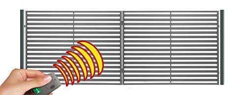 SO20 Einfahrtstor Hoftor Doppelflügeltor Gartentor Berlin mit elektr. Antrieb und Riegelset 400 x 150 cm Komplett-Set inklusive 2 Torelementen, 2 Stahlpfosten und Beschlägen. Gesamtbreite ist ca. 427 cm