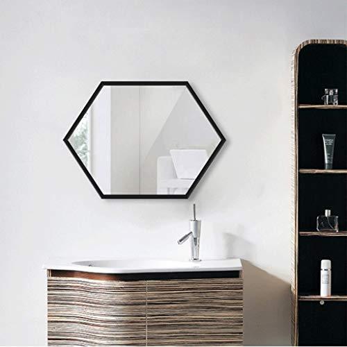 JXXDDQ Runder Spiegel Metallrahmen Kosmetikspiegel Gold 60 cm Wandbehang Spiegel Schlafzimmer Badezimmer Wohnzimmer Eingang große Sechseck Metall Wandspiegel Badezimmerspiegel 60x80cm Gold schwarz
