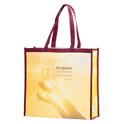 Christliche Geschenkideen Tragetasche groß zum Einkaufen Ich glaube; hilf meinem Unglauben! gelb mit roten Nähten (Und Bibel-taschen Tragetaschen)