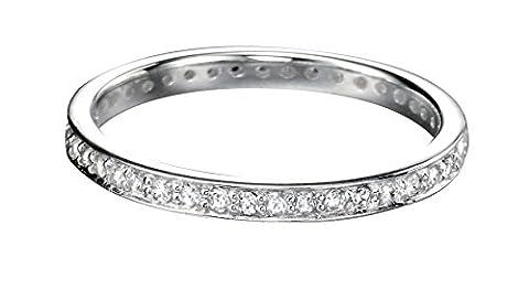 Elements Silber Sterling Silber klar cz Ebnen 23mm rund Ring–Gr. K