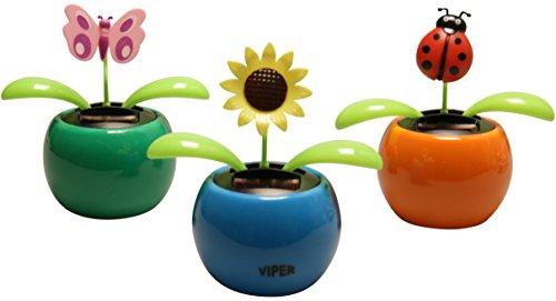 GW Handels UG Solarblume Solar Wackelblume 3 Stück verschiedene Farben und Formen Wackelfigur Deko Fensterbank