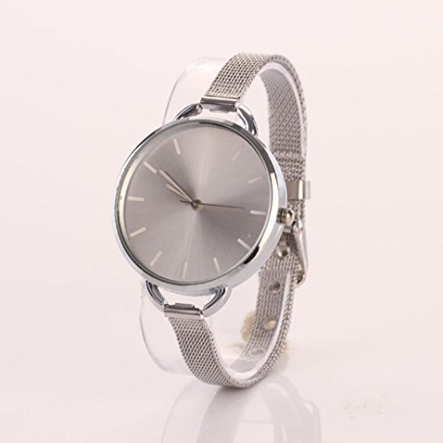 HUIHUI Uhren Damen, Geflochten Armbanduhren Günstige Uhren Wasserdicht Casual Analoge Edelstahl Quarz Armband Armbanduhr Coole Uhren Lederarmband Mädchen Frau Uhr (Silver)
