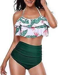 c0a1a67fc heekpek Conjunto de Bikini Mujer de Cintura Alta Traje de Baño de Dos  Piezas Volantes Correas de Espagueti Bañador Plisado Estampado Rayas…