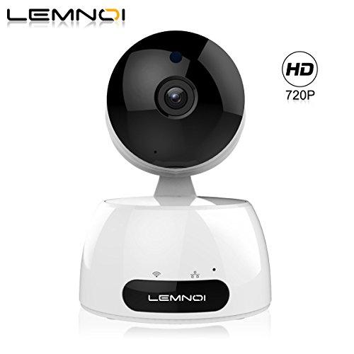 Lemnoi telecamera di sorveglianza ip camera wifi interno 720p ,audio bidirezionale , sensore di movimento pan/tilt/zoom ,visione notturna a infrarossi, controllo remoto, compatibile con ios e android (720p)