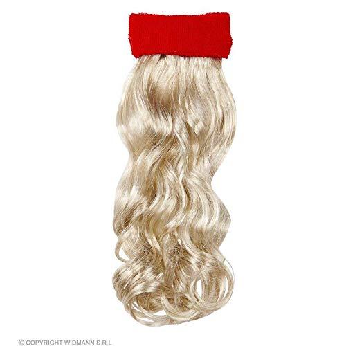 Lively Moments 80er Jahre Schweißband in rot mit blondem Haar / Stirnband Haarersatz Vokuhila / Kostüm Zubehör