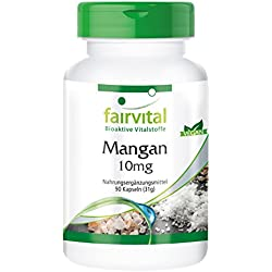 Mangan 10mg - 90 vegane Kapseln - Reinsubstanz - Aktiviert die Stoffwechsel-Enzyme - Essentielles Spurenelement