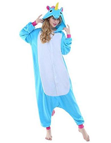 Einhorn Kostüm Pyjamas Tierkostüm Schlafanzug Verkleiden Cosplay Kostüm zum Karneval Fasching, blau Pferd, Gr. XL