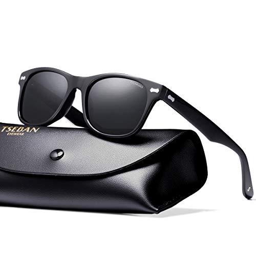 TSEBAN Retro Polarisierte Damen Sonnenbrille Herren Sonnenbrille 100% UV400 Schutz Fahrer Brille Acetat Rahmen (Damen, Rahmen: Schwarz; Linsen: Schwarz)