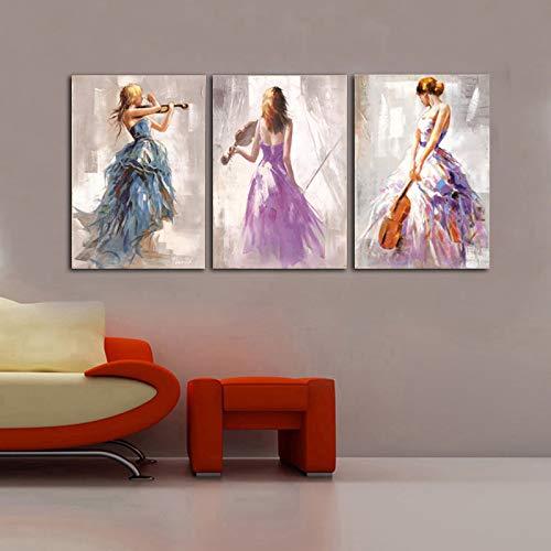 Moderne Abstrakte Porträt Poster Und Drucke Wandkunst Leinwand Malerei The Violin Player Dekorative Bilder Für Wohnzimmer Dekor 70x100 cm Kein Rahmen 3 Stücke -