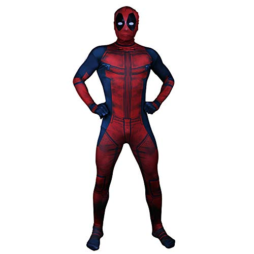 WEGCJU Deadpool Kostuum Kostüm 2019 Halloween Kostüm Overall Outfit Halloween Party Leistung Kostüm Overalls Attire Movie Party Hero,Red-XXL