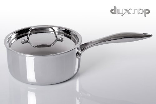 Duxtop Whole-Clad Tri-Ply Stainless Steel Induction Ready Premium Cookware SaucePan with Cover 2-Quart