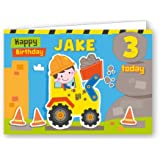 Convenient Birthday Bundle. Children's Luxury Digger Gift Wrap with matching Personalised Birthday Card