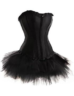 Negro Sin tirantes Corsés Conjunto de corset y Falda Tutú De Tul