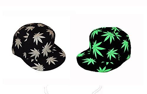 Coole Neue Cannabis Ganja Leaf Leaf Luminous Glow in the Dark Snap Back