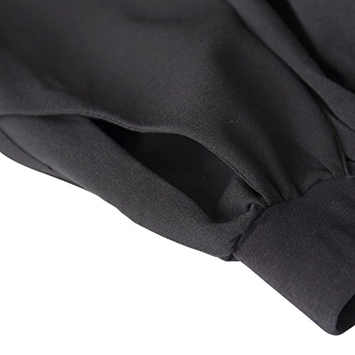 Kimring Women's Vintage High Waisted Pleated Full Skater Skirt with Pockets Nero