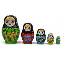 Soulitem 5 Capas Muñecas Rusas De Madera Colorida Pintada A Mano Matryoshka Doll Lindo Juguete de