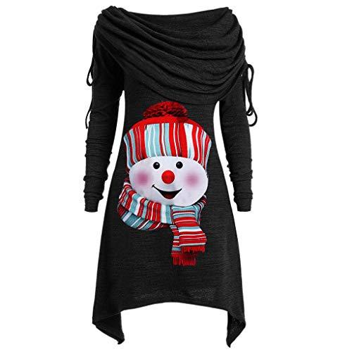 BHYDRY Herbstmode Damen Pullover Longpullover Kragen Tunika Falten Shirt Damen Loose Asymmetrisch Sweatshirt Long Top Oversize Pullover Oberteile Langarmshirt Große Größen (XXXXL, Z-Schwarz)
