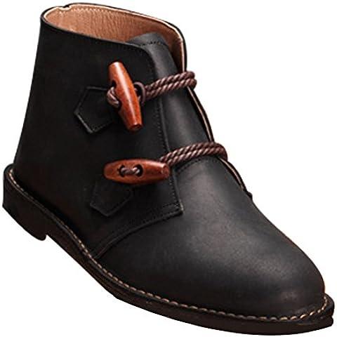 Vogstyle Mujeres Hecho A Mano Dedo Del Pie Redondo Cuero Botas Planas Zapatos
