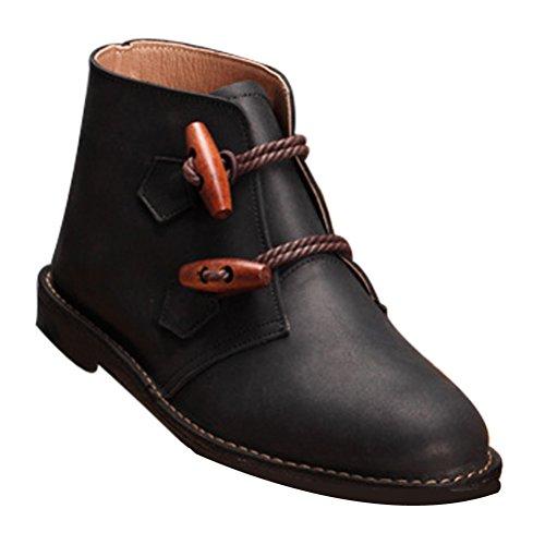 Vogstyle Femmes Chaussures En Cuir Bottes Noir