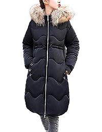 ab9e0a04b622cf ☺Wintermantel Daunenjacke Damen Übergangs Jacken Premium Outwear Frauen  Winter Warm Lang Daunenmantel mit Kapuze Pelzkragen