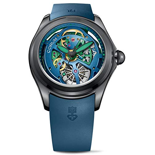 Corum Men's Bubble 47 Skeleton 47mm Blue Automatic Watch 082.400.98/0373 SQ14