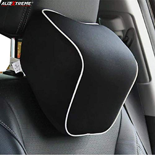 AllExtreme EXMFTC1 Memory Foam Car Seat Neck Pillow Headrest Travel Cushion for Cervical Support & Sleeping (Black)
