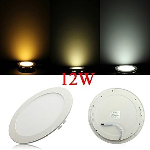 Regulable Ultrathin 12W LED de techo redondo de Down Lámpara Luz del panel.