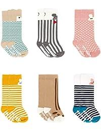 Adorel Pack de 6 pares de Calcetines hasta la rodilla Antideslizantes para Bebés Niñas ...