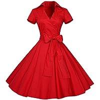 Vestidos mujer casual,Mujeres Vintage vestido 50S 60S Swing Pinup Retro Casual ama de casa fiesta bola LMMVP (L, Rojo)