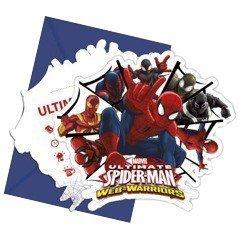 Procos 85157 - Inviti con Busta Ultimate Spider Man Web Warriors, 6 Pezzi, Rosso/Blu - Spider Man Gift Set