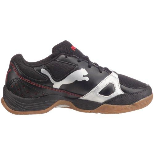 PUMA 102066 03 Vellum II Jr, Jungen Sportschuhe - Indoor Schwarz (Black-Puma Silver-High Risk Red)
