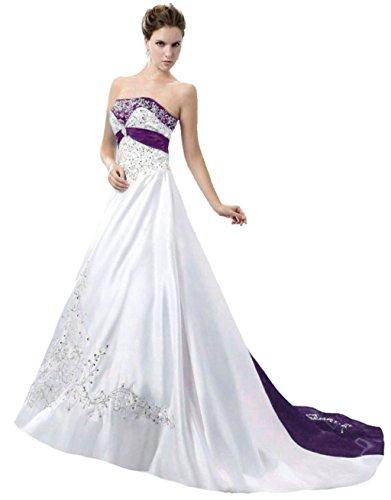 Vantexi Damen Trägerloses Wulstige Stickerei Hochzeitskleid Brautkleider Weiß Lila 40