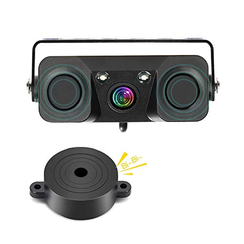 MiCarBa Auto-Backup-Kamera, 3-in-1 170 Grad Wide View HD Auto Reverse Rückfahrkamera 2 LED Nachtsicht wasserdicht mit 2 Radar Parking Sensor Summer (CLPZ451) ... Universal Reverse-rückfahrkamera