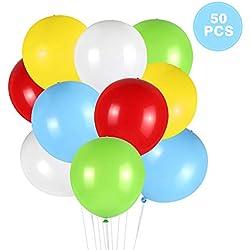 Thinkcase Leuchtende Luftballons 50 Stück 5 Farben Blinken Bunt LED Ballons für Hochzeit Weihnachten Geburtstag Luftballon Party Deko