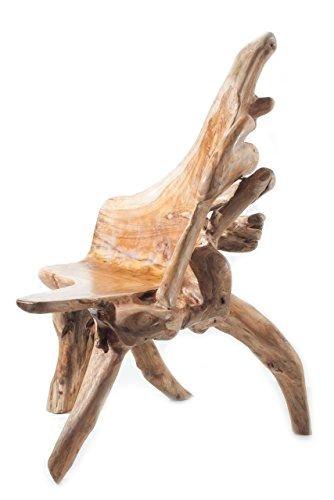 WINDALF Holz Stuhl DRONINGA h 108cm UNIKAT Handgearbeitet aus Teakwurzelholz