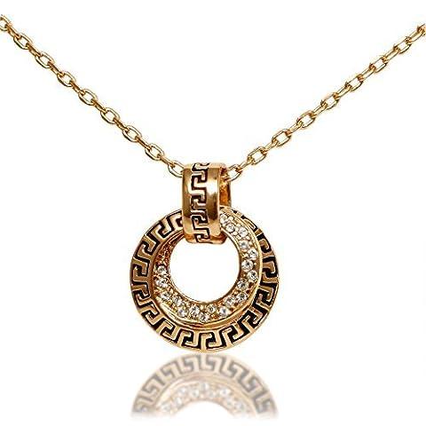 Collier plaqué or 18K pour femme avec double cercle Pave européenne Pendentif en cristal