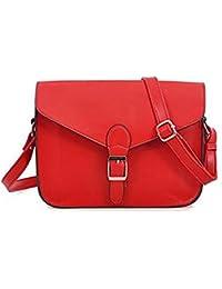 TOOGOO (R) Bolsa con boton vintage de muy buen gusto rojo para mujer muchacha nueva