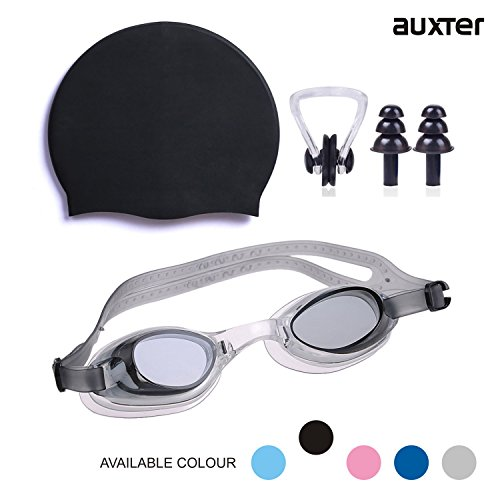Auxter Swimming Kit with swimming Goggles Silicone Swimming Cap + 1 Nose  Clip + 2 Ear Plugs
