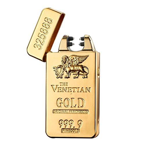 Aokvic USB Elektronisches Feuerzeug aufladbar lichtbogen (Gold Bars)