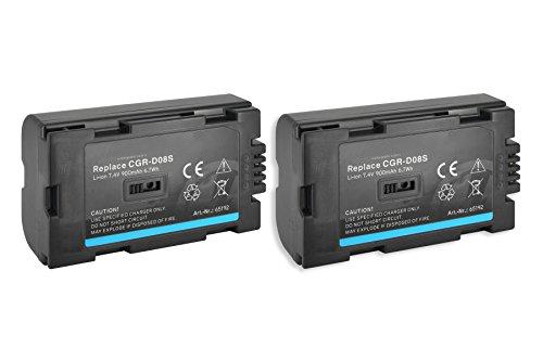 2x Akku CGR-D08, D08A, D120 für Panasonic Digitalkameras und Camcorder